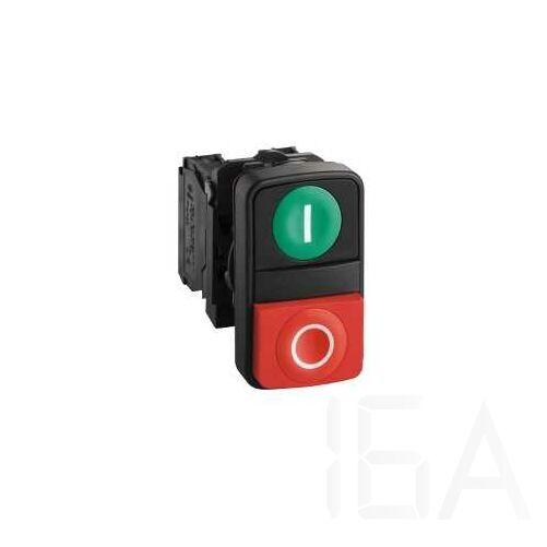 Schneider Komplett műanyag kétfejű nyomógomb zöld,piros, XB5AL73415