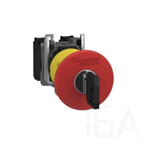 Schneider Komplett vészgomb, kulcsos kioldás, gombafejű, piros 1NO + 1NC, XB5AS9445
