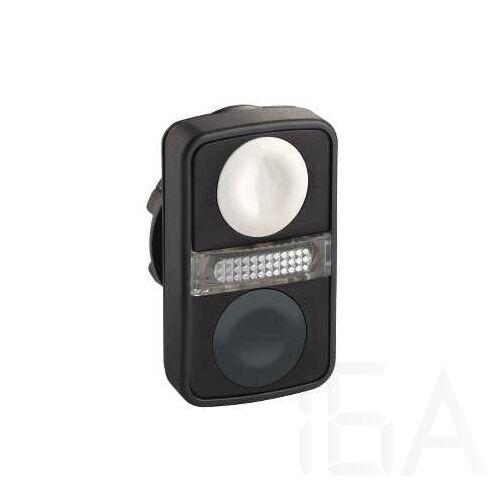 Schneider Kettősfejű nyomógomb, műanyag, fehér, fekete jelöletlen, ZB5AW7A1720