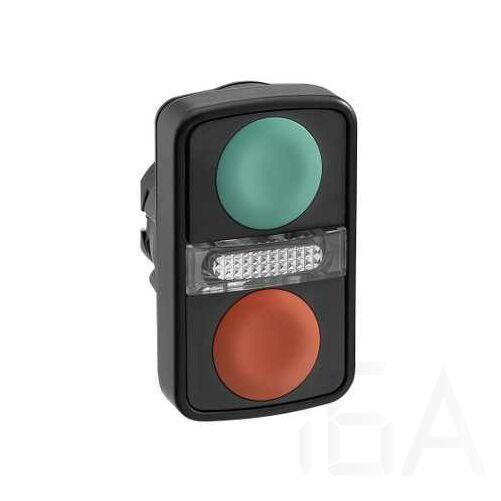 Schneider Kettősfejű nyomógomb, műanyag, zöld, piros jelöletlen, ZB5AW7A3740