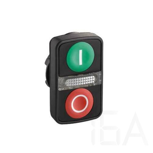 """Schneider Kettősfejű nyomógomb, műanyag, zöld alapon """"I"""" és piros alapon """"O"""" jelölés, ZB5AW7A3741"""
