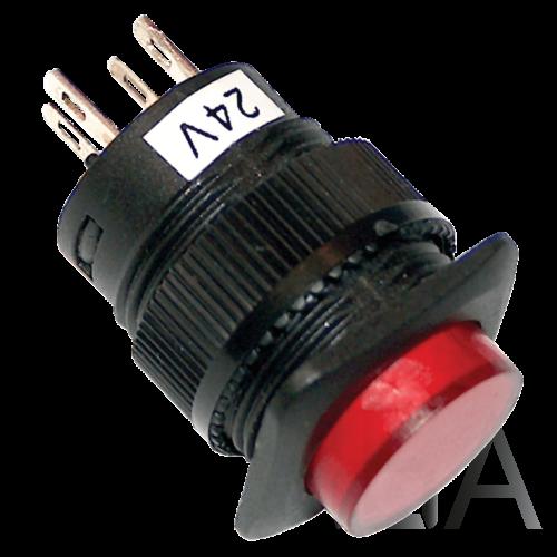 Tracon Mini jelzőlámpás nyomókapcsoló, piros, MNK-002R
