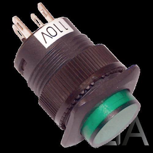 Tracon Mini jelzőlámpás nyomógomb, zöld, MNG-110G