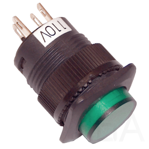 Tracon Mini jelzőlámpás nyomókapcsoló, zöld, MNK-002G