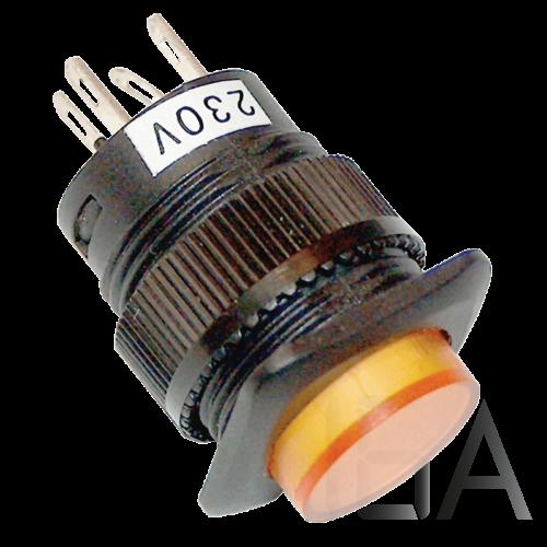 Tracon Mini jelzőlámpás nyomógomb, sárga, MNG-012Y