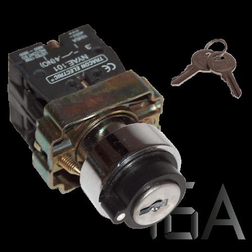 Tracon 3 állású kulcsos kapcsoló 1-0-2,  rúgós pozicióba visszaúgró, NYBG73KK