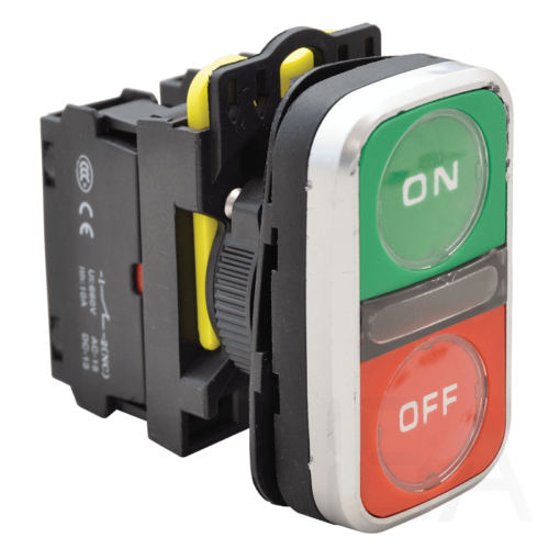 Tracon Kettős világító BE-KI nyomógomb, ON-OFF, zöld+piros, NYG3-DL2