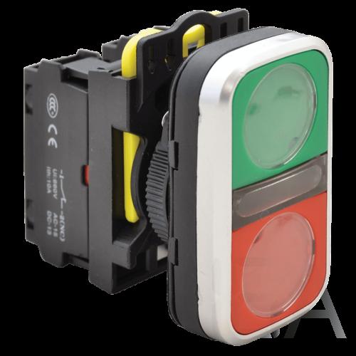 Tracon Kettős világító BE-KI nyomógomb, zöld+piros, NYG3-DL