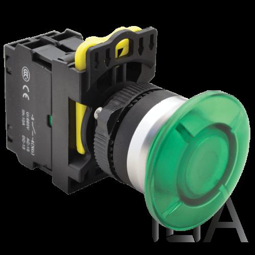 Tracon Gombafejű világító nyomógomb,zöld, NYG3-MLG