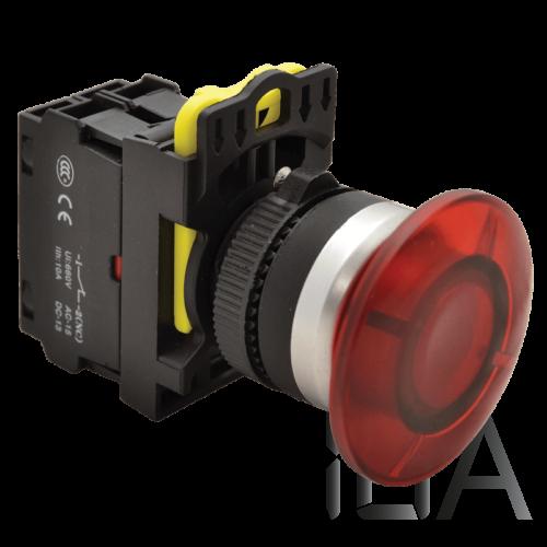 Tracon Gombafejű világító nyomógomb,piros, NYG3-MLR