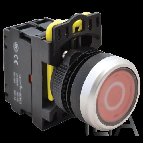 Tracon Jelölt, világító  nyomókapcsoló, piros, (fehér 0), NYK3-P2L