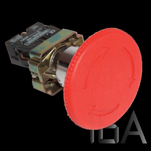 Tracon Reteszelt gombafejű vészgomb, fémalap, piros elfordítással, NYG442P30