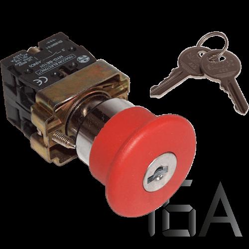 Tracon Tokozott reteszelt gombafejű vészgomb, piros, kulcsos, NYGBS142PT