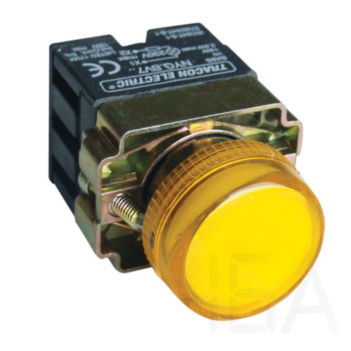 Tracon Tokozott jelzőlámpa, fémalap, sárga, előtéttel, izzó nélkül, NYGBV75S