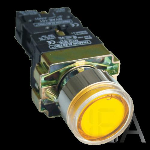 Tracon Világító nyomógomb, fémalap, sárga, glim, izzó nélkül, NYGBW33S