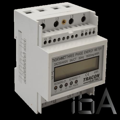Tracon  TVO-F3-4MCT LCD kijelzésű háromfázisú áramváltós fogyasztásmérő, 4 modul